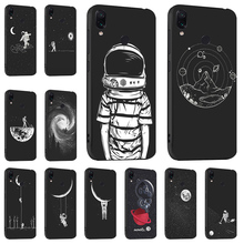 Space Moon Astronaut Case For Xiaomi Redmi Note 7 5 Pro 5A S2 Cases 3D DIY Painted Black Cover for Mi 9 SE A1 A2
