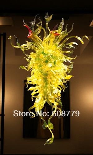 Latest Style Luxury Modern Yellow Murano Hand Blown Glass Chandelier