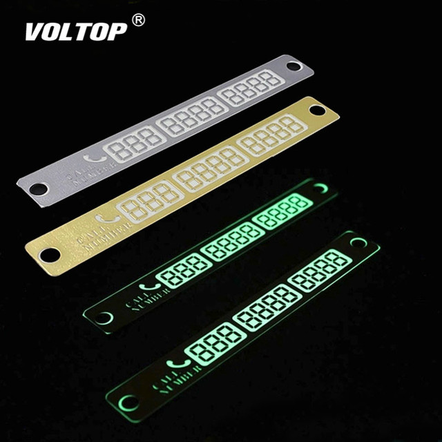 Temporary Car Parking Card Telephone Number Card Notification Night Light Sucker Plate Car Styling Phone Number Card Car Decal