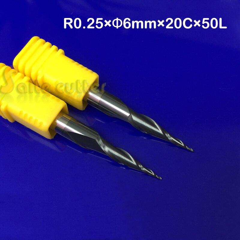 2 pz R0.25 * D6 * 20 * 50L * 2F HRC55 Tungsteno solid carbide Taper Sfera Nose Fresa cono fresa cnc router bit di legno strumento coltello2 pz R0.25 * D6 * 20 * 50L * 2F HRC55 Tungsteno solid carbide Taper Sfera Nose Fresa cono fresa cnc router bit di legno strumento coltello