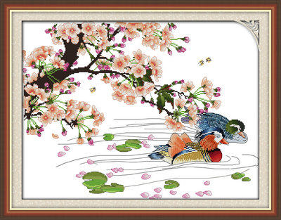 Mandarin duck flowers Poetic painting Stamped or Counted DIY Cross Stitch Kits for Embro ...