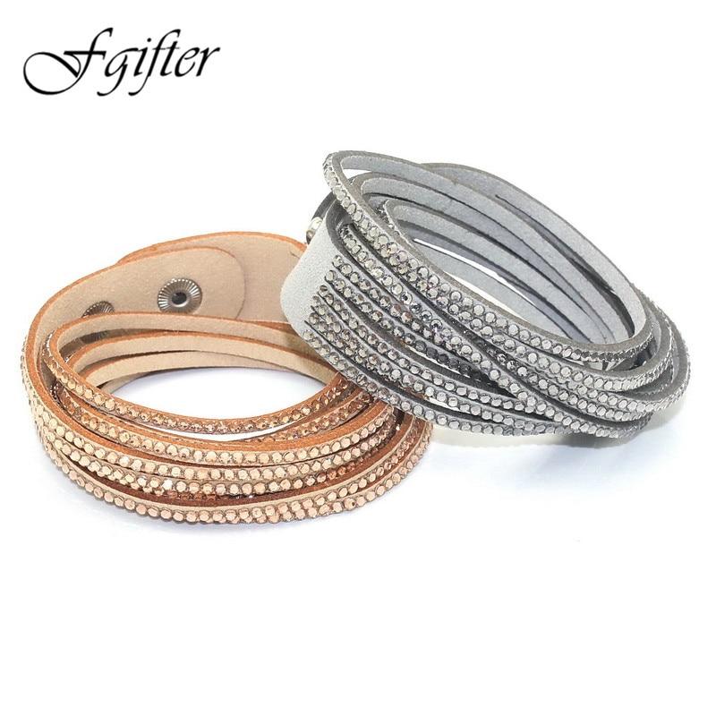 Mode 6 Layer Wrap Armband Slake Läder Armband Med Kristall Par Smycken Womans Armband