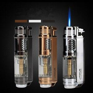 Image 1 - Encendedor de butano Visible para ventana, encendedor Turbo a prueba de fuego, pistola pulverizadora portátil de Metal, pipa cigarro, encendedor 1300 C sin Gas