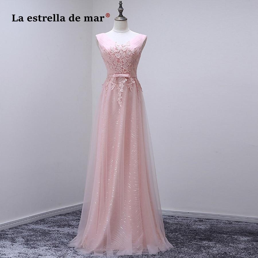d7f84493e1fc5 Vestido de festa longo para casamento vestido para madrinha2018 new tulle  sequins sexy V neck pink
