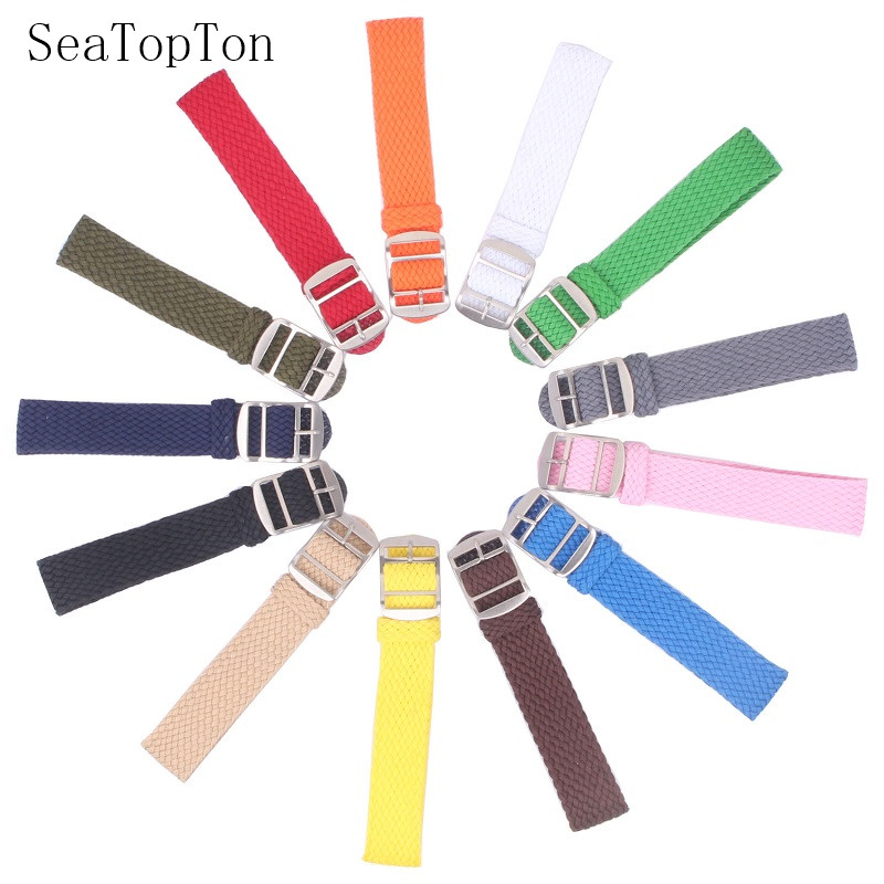 14mm 16mm 18mm 20mm 22mm Colore Solido Perlon Tessuto Di Nylon Cinturini Braccialetto Tessuto Tessuto Cinturino Di Vigilanza Della Fascia Fibbia Della Cintura Nera Blu
