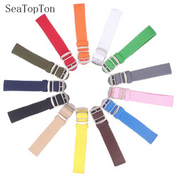 14mm 16mm 18mm 20mm 22mm couleur unie Perlon tissé Nylon bracelets bracelet tissu tissé montre sangle bande boucle ceinture noir bleu
