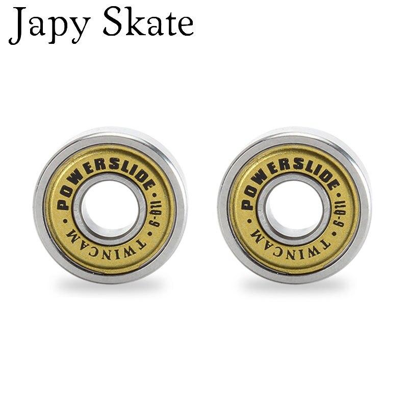 Prix pour Jus japy Skate 100% D'origine Powerslide TWINCAM QIL-9 Miniature À Billes Radial À Billes EVO Or Couverture Roulements pour SEBA Patines