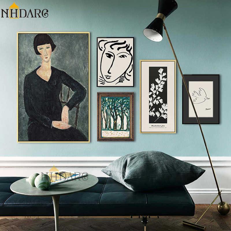 Классический Amedeo Modigliani Picasso художественная коллекция Эскиз Холст печать живопись плакат Настенные картины гостиная домашний декор