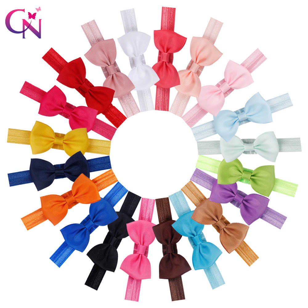 20 Colors 20 Pcs kids Small Hair Bow Tie Headband DIY Grosgrain Ribbon Bow Elastic Hair Bands For Girl Children Hair Accessories