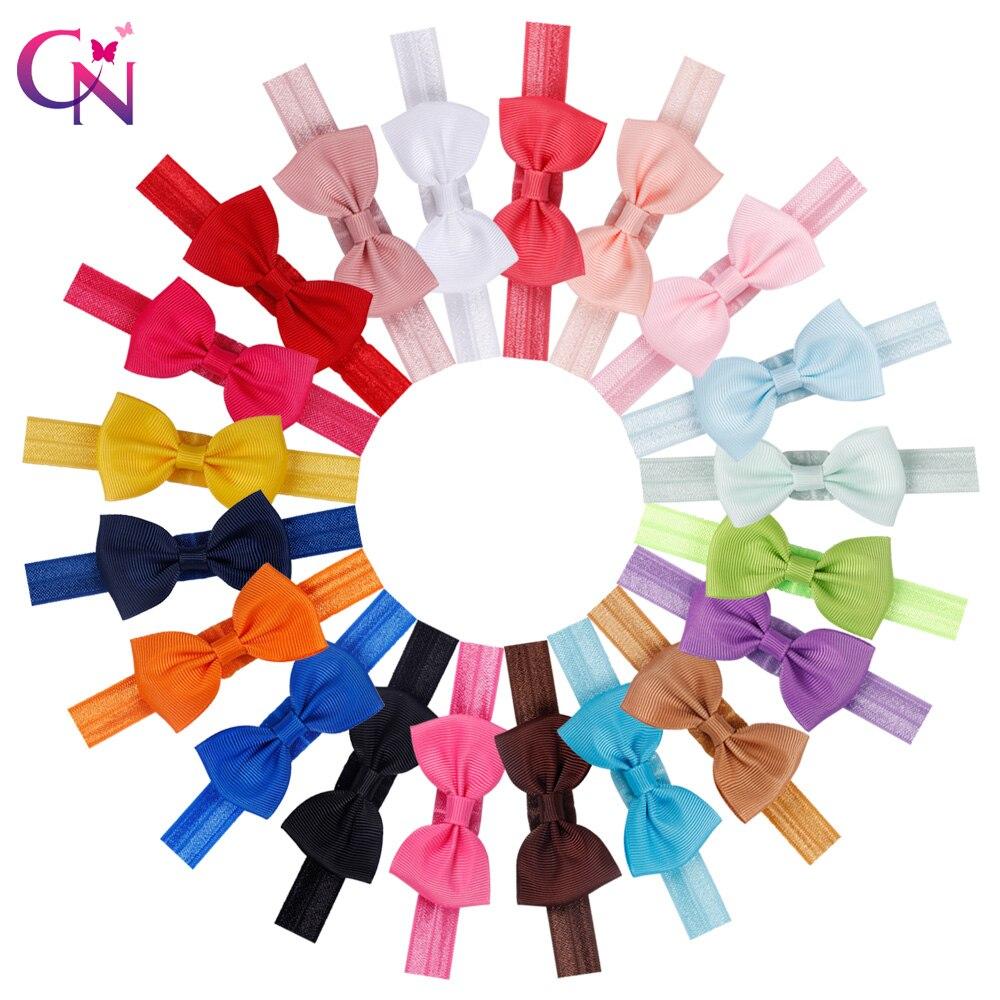 20 Colors 20 Pcs Kids Small Hair Bow Tie Headband DIY Grosgrain Ribbon Bow Elastic Hair Bands For Girl Children Hair Accessories