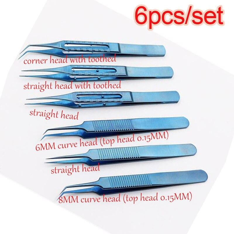 6 pièces/ensemble instruments microchirurgicaux 11.5 CM greffe de cheveux alliage de titane pinces de haute qualité incurvées/plate-forme/tête d'angle