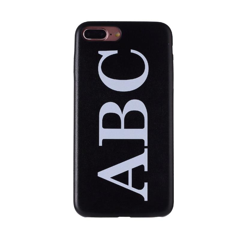 Настоящая кожа, роскошный, смелый, на заказ, с именем, текст, начальный чехол для телефона, чехол, Coque Funda для iPhone 11 Pro X 6S XS Max 7 7Plus 8Plus - Цвет: Font 1-Black Leather