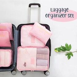 6 шт./компл. мешочек для багажа Органайзер набор сетчатая, для путешествий сумка в сумке органайзер для багажа Упаковка косметичка