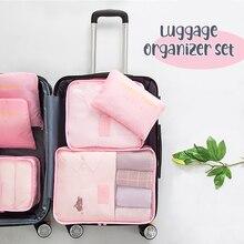 6PCS/Set Luggage Packing Organizer Set Travel Mesh Bag In
