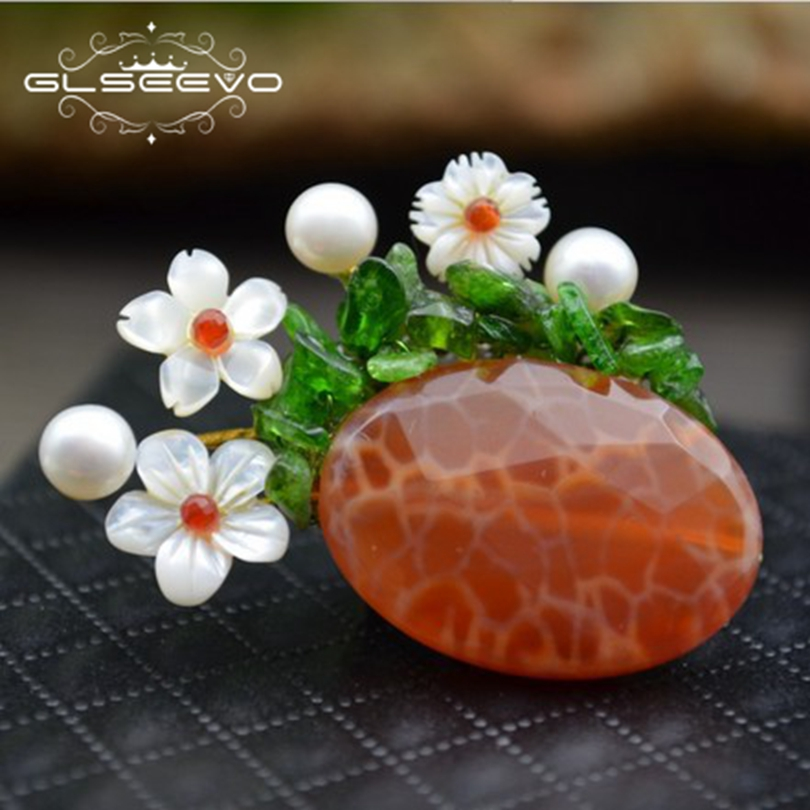 GLSEEVO Natural Agate Stone Pins Shell Fresh Water Pearl Shell Flower Brooches For Women Dual Use Luxury Fine Jewelry GO0288