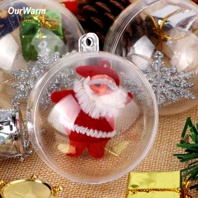 Ourwarm 50pcs 10cm Clear Christmas Decoration Hanging Ball Baubles