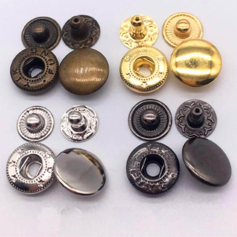 50set/Pack 10mm 12.5mm 15mm Metal Press Studs Snap Button