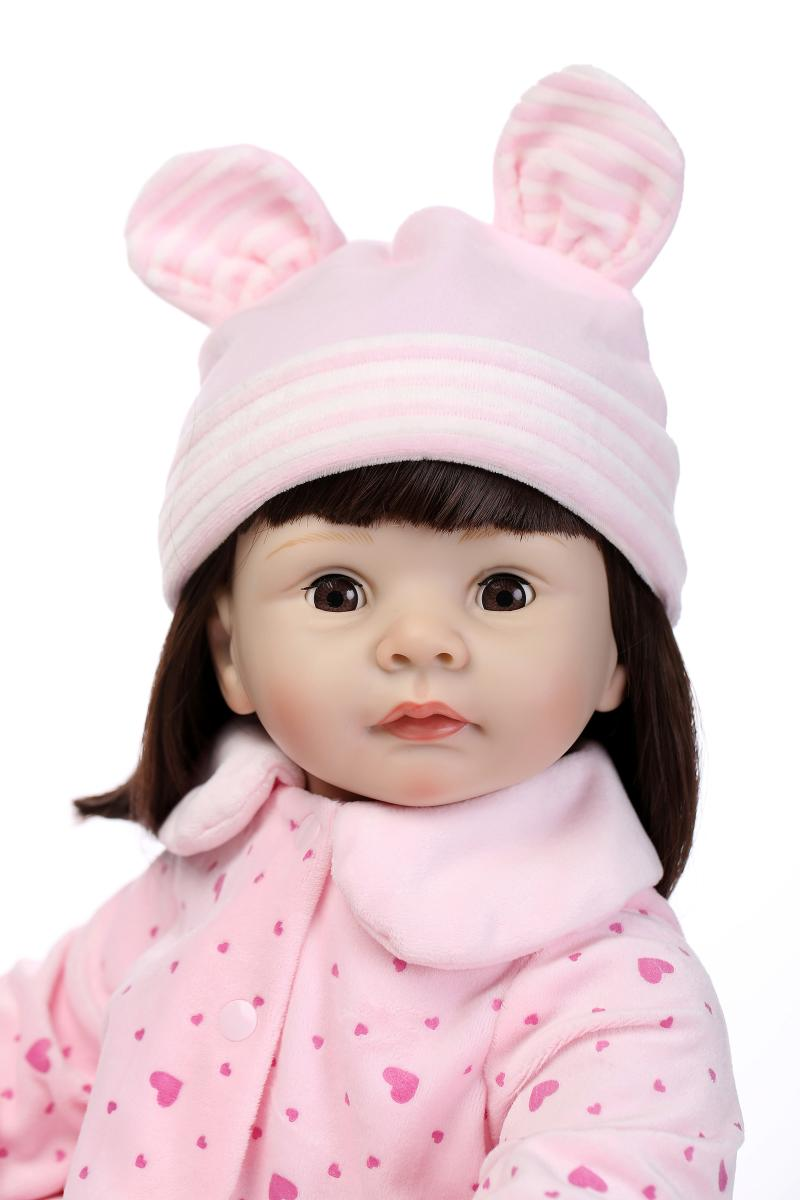 "22"" New baby girl doll reborn blinking eyes silicone arms lifelike girl dolls toys with clothes/hat"