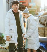 The winter jacket in the long section of Korean couple loose hooded cotton padded jacket thick