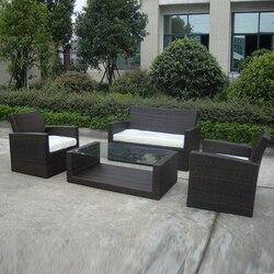 4-pcs cane sofa Pastoralism Home Indoor / Outdoor Rattan Sofa For Living Room