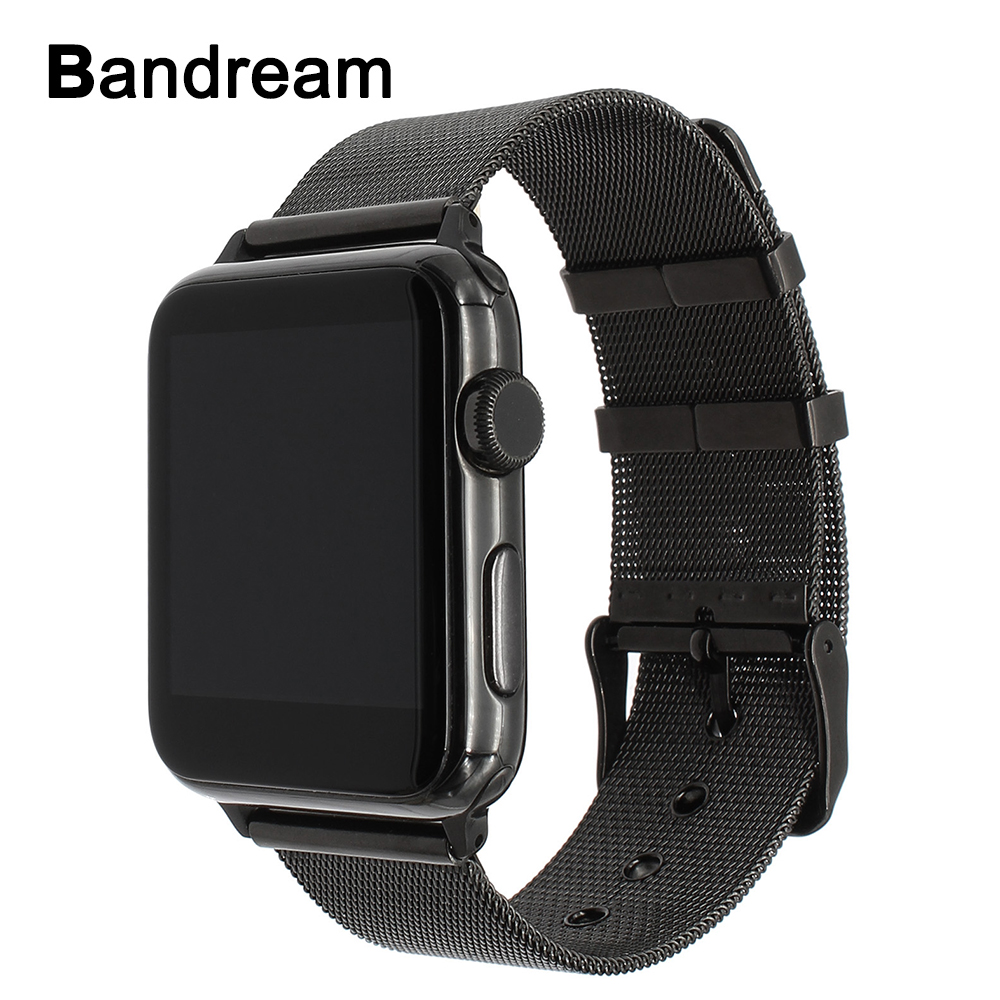 цены на Milanese Watchband for iWatch Apple Watch 38mm 42mm Series 1 2 3 Stainless Steel Band Woven Strap Wrist Bracelet Black Silver в интернет-магазинах