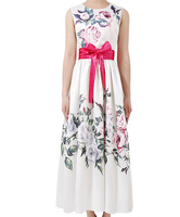 2018 New Flower Print Women Long Dress Fashion O Neck Sleeveless Pleated Dresses G7152
