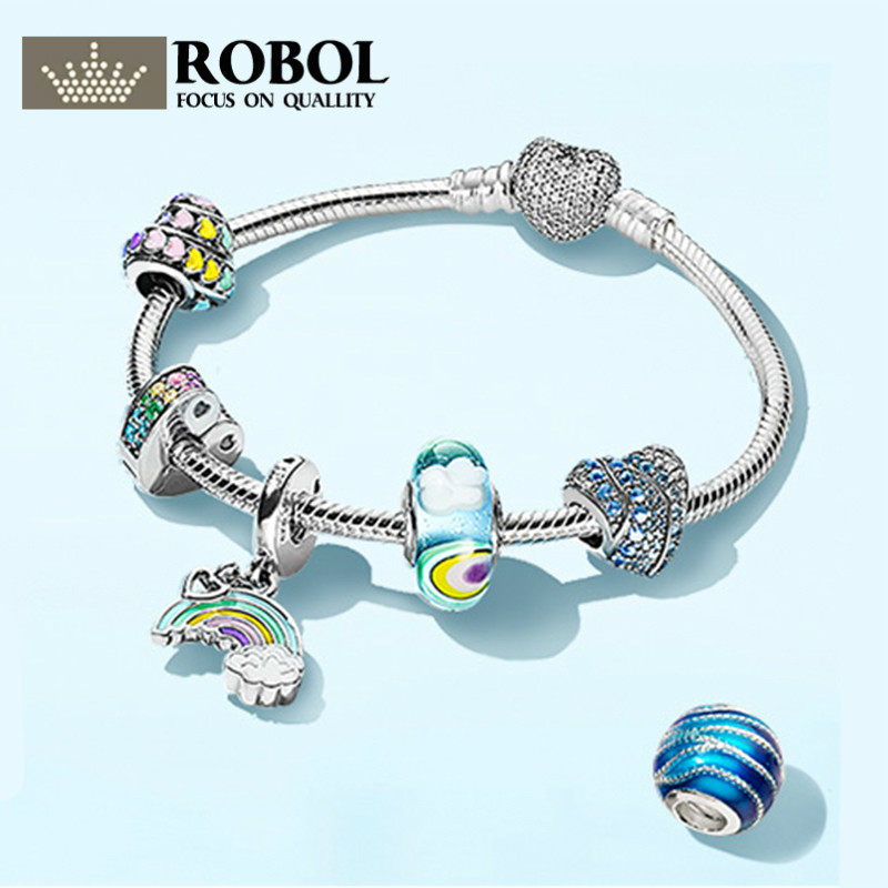 ROBOL 100% 925 Sterling Silver Brand New Bracelet Set Natural Inspiration Calm Waves After Rain Sky And Rainbow enid starkie petrus borel the lycanthrope the life and times