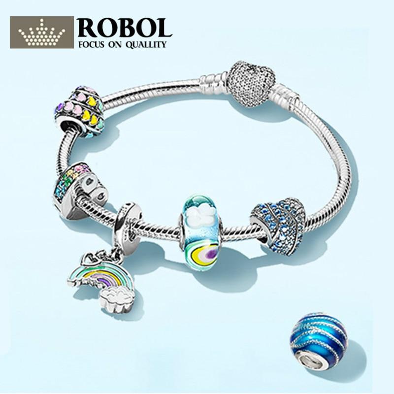 ROBOL 100% 925 Sterling Silver Brand New Bracelet Set Natural Inspiration Calm Waves After Rain Sky And Rainbow зигмунд фрейд теория психоанализа и эго психология сборник
