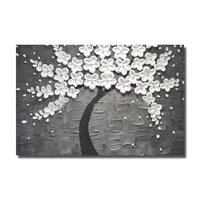 Hand Painted Big Size Picture Wedding Home Decor Snow White Wall Painting Flower Tree Gray Thick