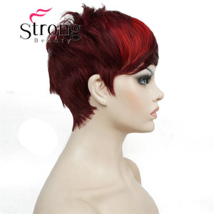 Image 5 - StrongBeauty Short Side Bang Red Asymetrical Straight  Wig Full Synthetic Wigs COLOUR CHOICES