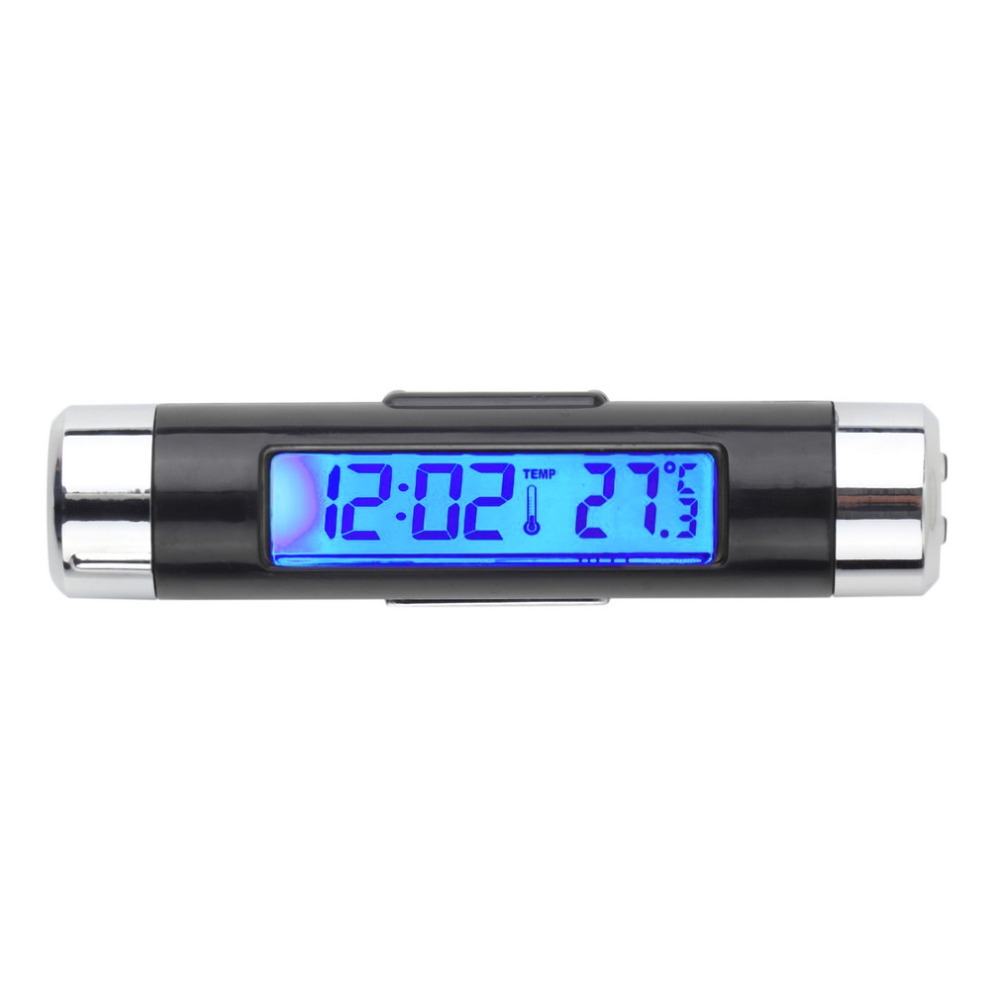 Mini 2 in1 Car Auto LCD Clip-on Digital Backlight Automotive Thermometer Clock + Voltmeter New