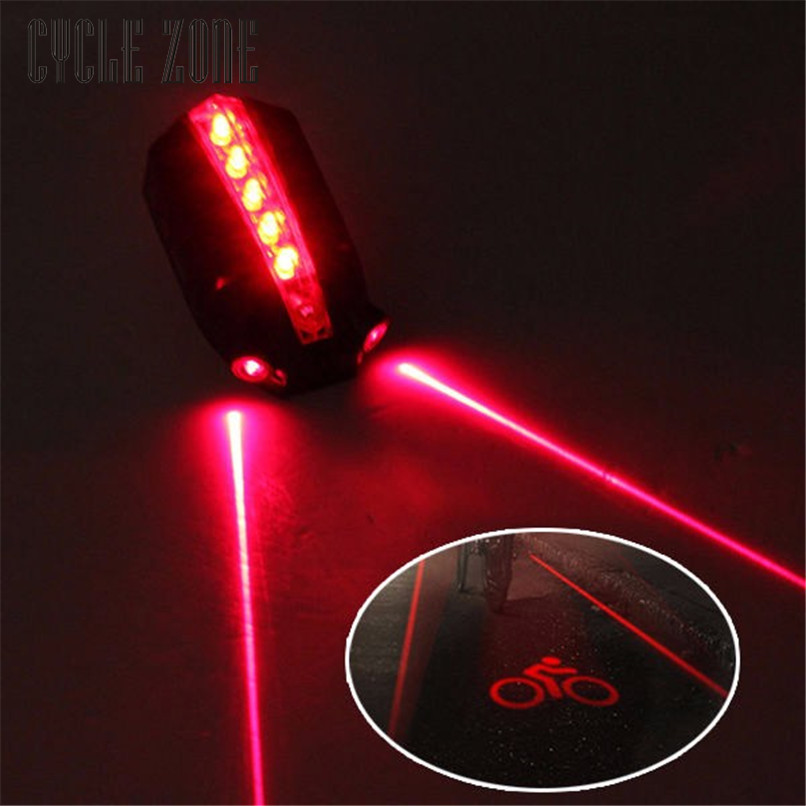 Outdoor Dynamic 2 Laser+5 LED Rear Bike Bicycle Tail Light Beam Safety Warning Red Lamp Mar07 5 led 3 mode bicycle bike rear tail lamp light red