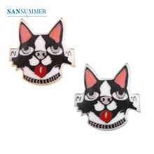 SANSUMMER Trendy Brooches Women Accessories Creative Hand Made Cartoon Sticker Funny Dog Exaggerated 235