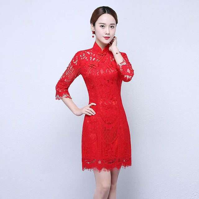 b8e15b19379 Rouge Qipao De Mariage Chinois Robe Traditionnelle Cheongsam Moderne Robes  Orientales Robe Chinoise Femme Oriental Style ...
