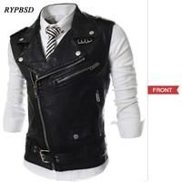 2019 New Arrival Men's Casual Multi Zipper Leather Vest Short Design Turn Down Collar Slim Vest