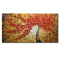100 Hand Painted Paintings Red Art Work Maple Tree Pictures Abstract Art Large Wall Art For