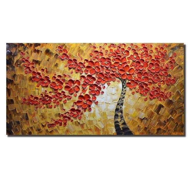 100% Handgemalte Gemälde Rot Kunst Arbeit Maple Tree Bilder ...