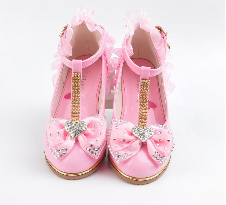 Lace Leather Shoes Girls Children's High Heels Shoes Spring Girls Princess Shoes T-strap Little Girl White Crystal Sandals Kids