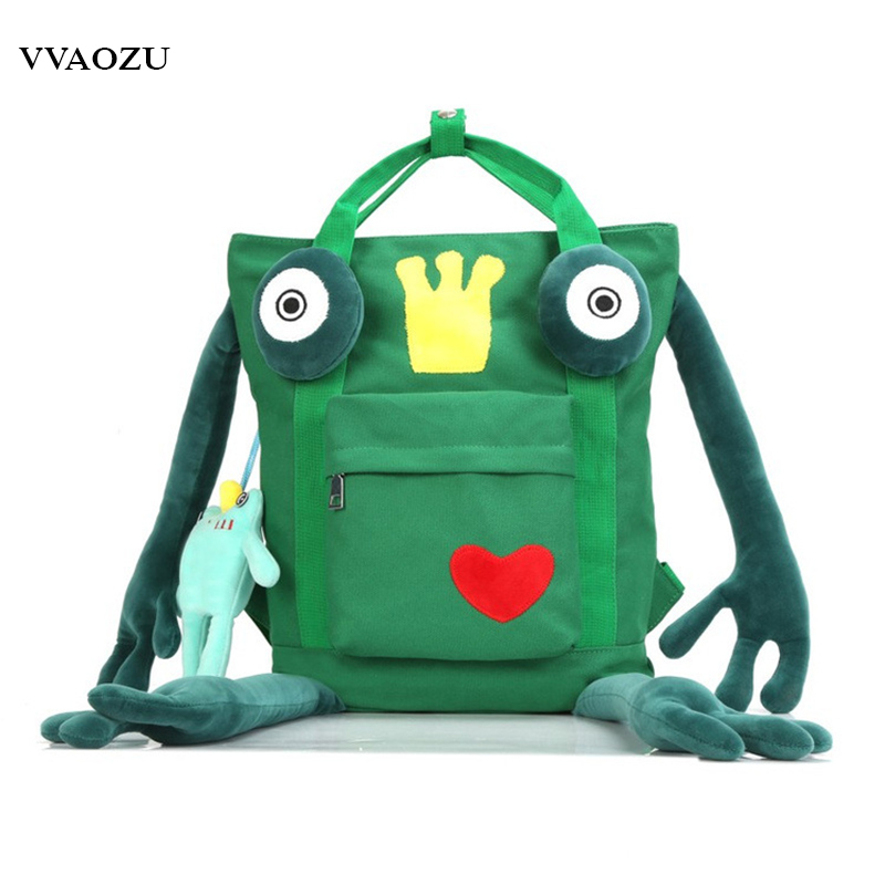 Cartoon Frog Schoolbag 3d Animal Canvas Mochila Bagpack Shool Bags For Teenagers Boys Girls Backpack With Pendant