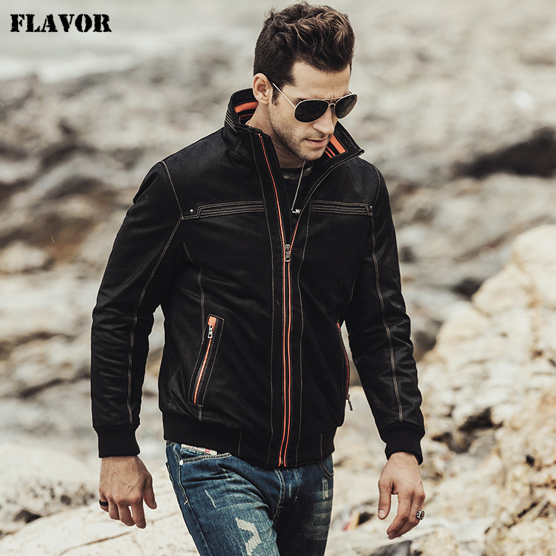 FLAVOR 2017 NEW Men's Real Leather Coat Padding Cotton Warm Autumn Winter Male Genuine Leather Jacket