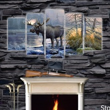 Unframed 5Piece Animals oil Paintings posters and prints Canvas Modular Wallart Pictures for Living room Home cuadros Decoracion