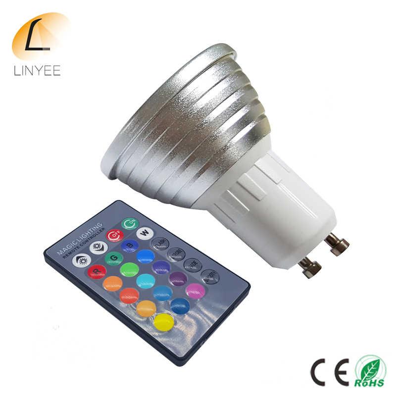 10 pcs RGB 16 Warna 5 W GU10 AC85-265V LED Bulb Cahaya Spot Light LED Light Lampu dengan 24key IR Remote Control Blister kemasan