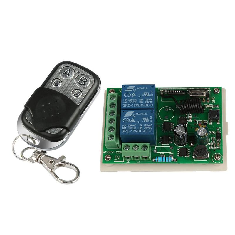 433MHz RF 4-Channel Remote Control Switch Learning Code 1527 Transmitter With 2-Channel Relay Receiver Module Door Controller