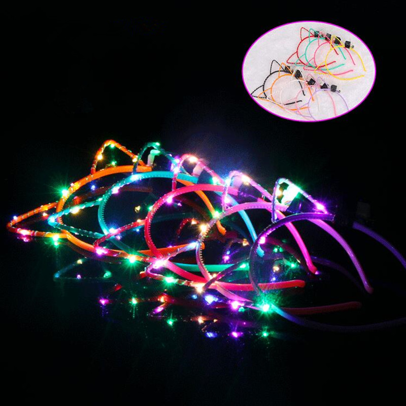 LED Light Up Glowing Cat Animal Ears Headband Women Girls Flashing Bunny Ears Headwear Birthday Hair Accessories Christmas