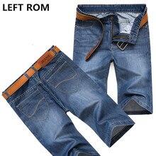 LEFT ROM 2017 men summer cotton casual pure color fashion Denim shorts Male Elastic force Business affairs Quality jeans 28-38