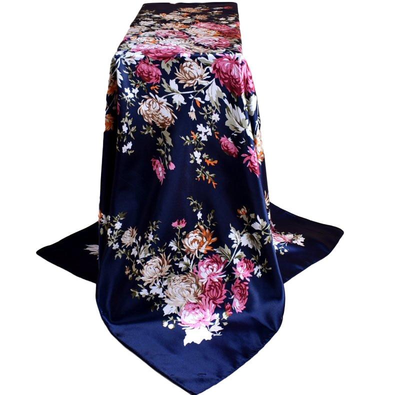 90 * 90 Large Shawl Simulation Silk Shawl Size Mudanhua Yi-Wu Ms. Printed Scarf Wholesale