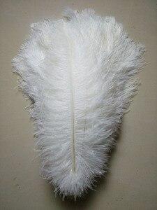 Image 1 - 50 pc qualidade penas de avestruz branco, 16 18 polegadas/40 45 cm, DIY decorações de casamento