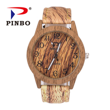 Pinbo бренд Мода Круглый Дейл деревянные часы Для мужчин Для женщин кварцевые наручные часы Lady Vinatge кожа часы мужской Relogio Masculino