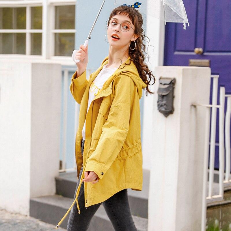 Capuche Femmes Mode Grande Pour Fit Taille 2019 Lâche Pardessus À Trench vent coat Pull Nouveauté Jaune Coupe Printemps wzzXrgxdq