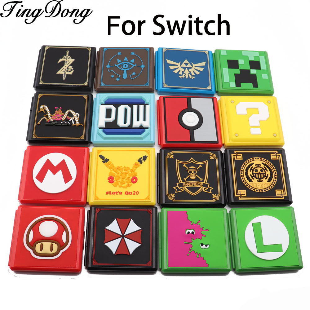 Premium Game Card Case For Nintend Switch Ns Console Holds 12 Micro Sd Cards Box Cover Accessories Pow Question Block Cases Aliexpress
